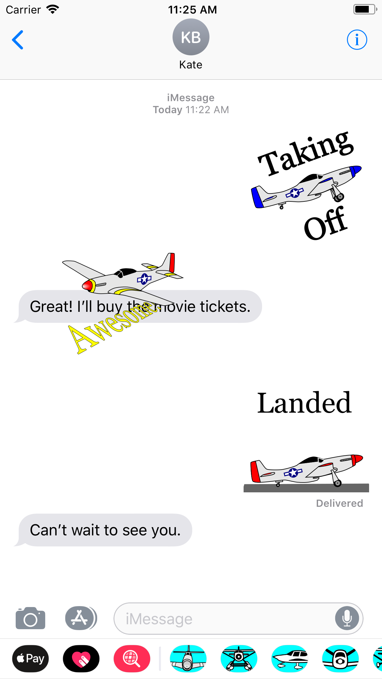 Sample texting conversation using airplane stickers
