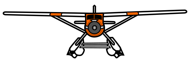 Drawing of plane facing head-on.